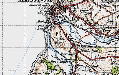 Old map of Penparcau in 1947