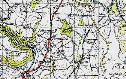 Old map of Penpillick in 1946