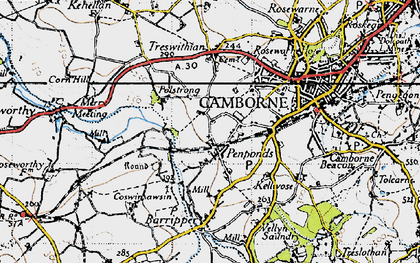 Old map of Penponds in 1946