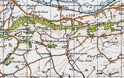 Old map of Afon Gwynon in 1947