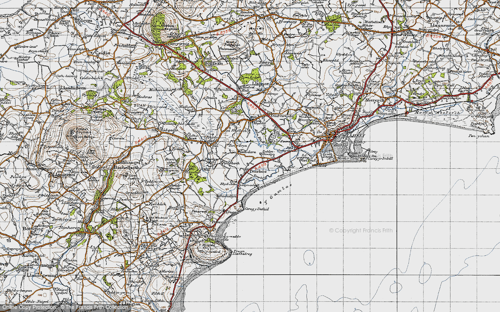 Old Map of Historic Map covering Afon Penrhos in 1947
