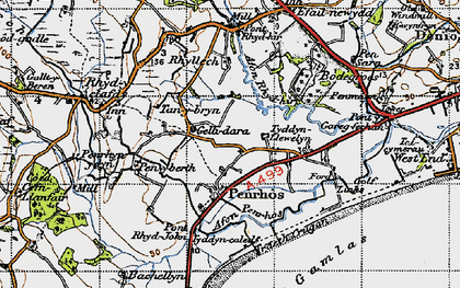 Old map of Afon Penrhos in 1947