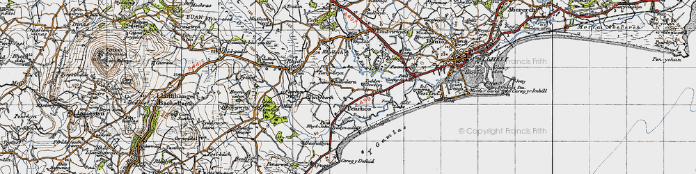 Old map of Afon Penrhos in 1947