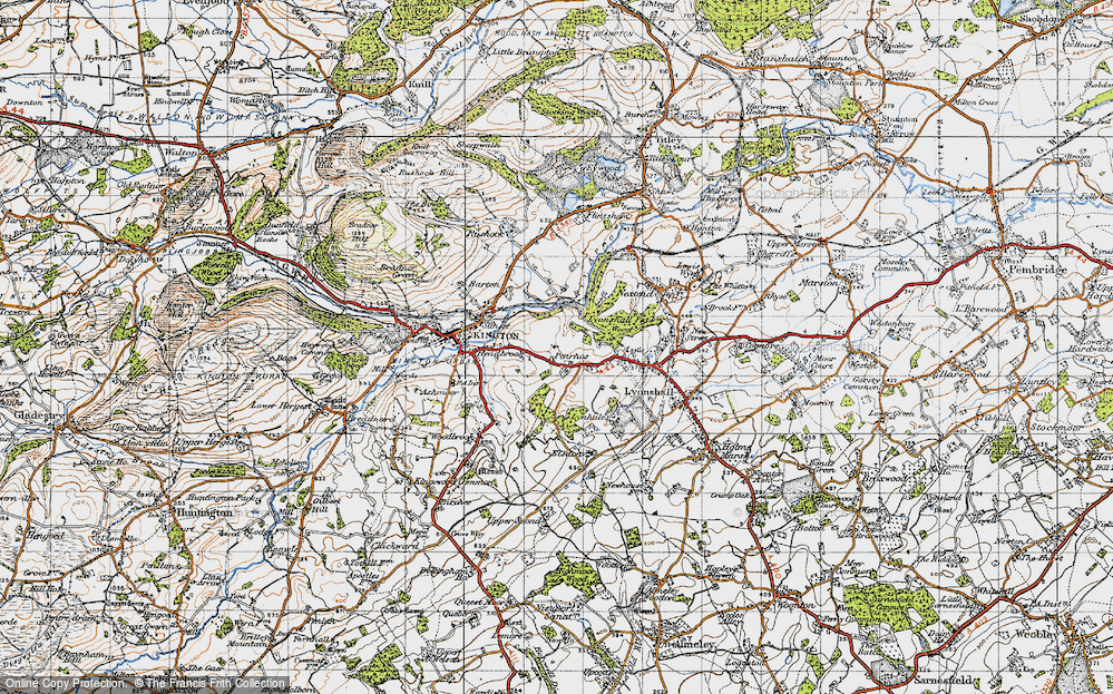 Old Map of Historic Map covering Bullocks Mill in 1947