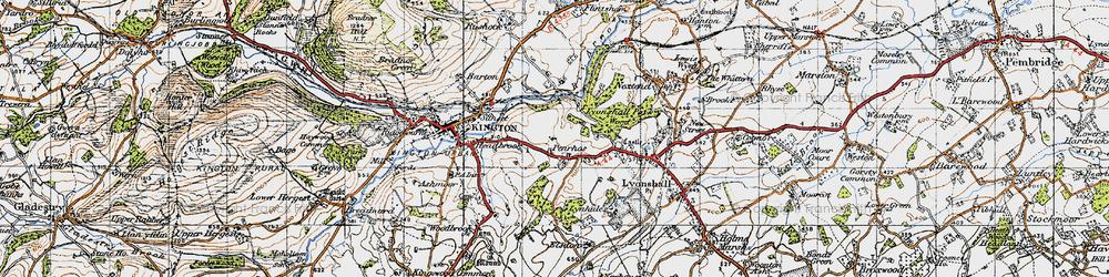 Old map of Bullocks Mill in 1947
