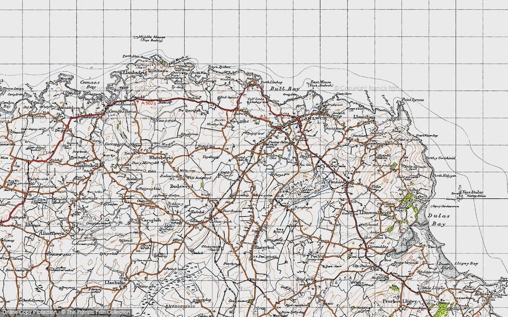 Old Map of Historic Map covering Ysgellog in 1947