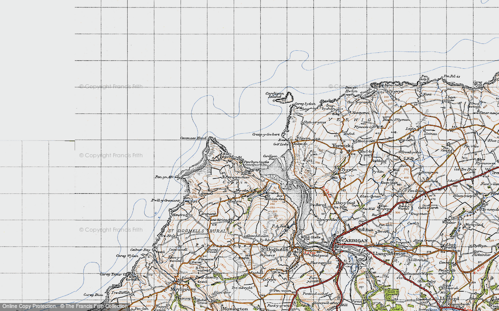 Old Map of Historic Map covering Allt-y-goed in 1947