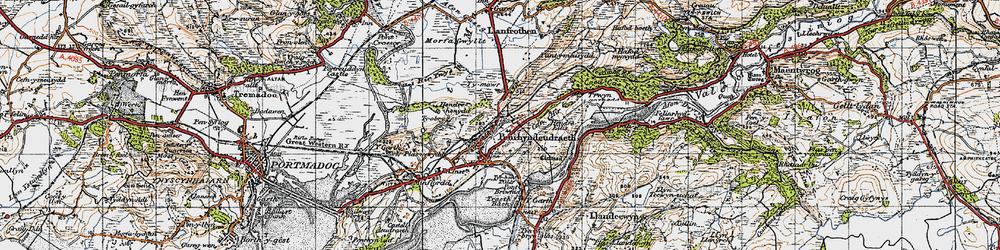 Old map of Penrhyndeudraeth in 1947