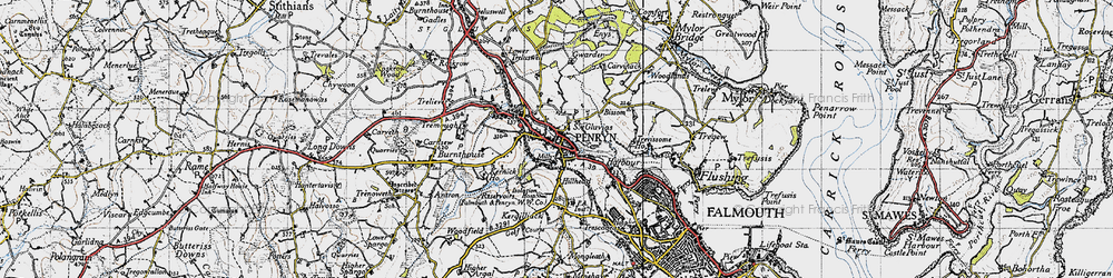 Old map of Penryn in 1946