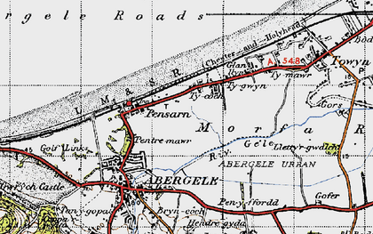 Old map of Pensarn in 1947