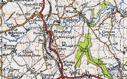 Old map of Whitley Batts in 1946