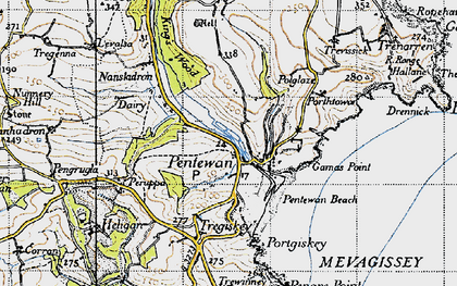 Old map of Pentewan in 1946