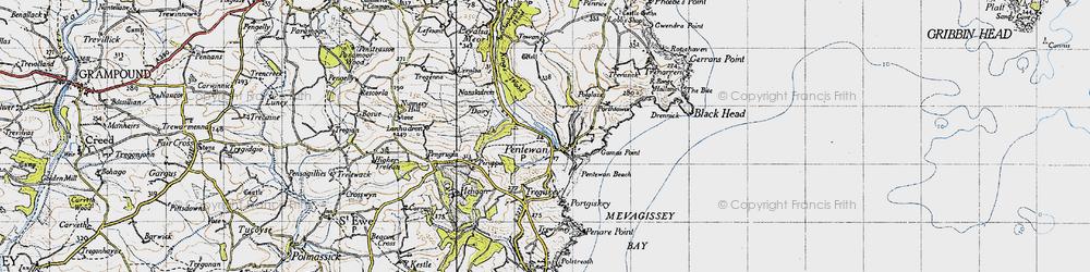 Old map of Pentewan in 1946