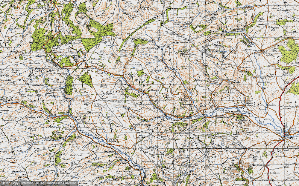 Old Map of Historic Map covering Badger Moor in 1947