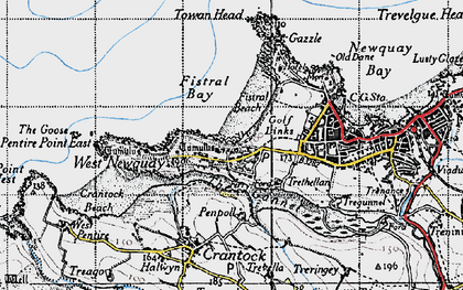 Old map of Pentire in 1946