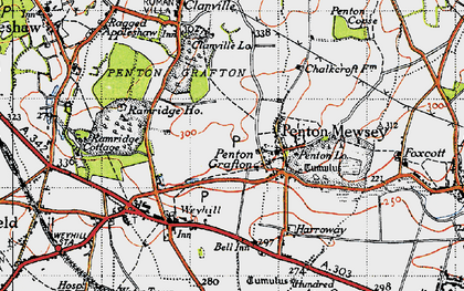 Old map of Weyhill Service Area in 1945