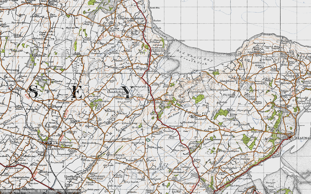 Old Map of Historic Map covering Afon Nodwydd in 1947