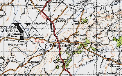 Old map of Afon Nodwydd in 1947