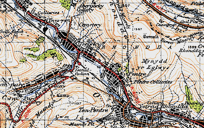 Old map of Pentre in 1947