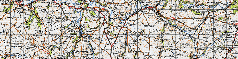 Old map of Pentre-cwrt in 1947