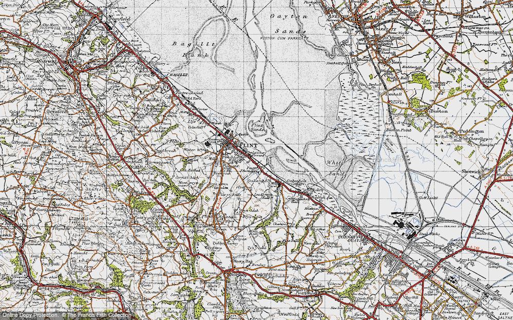Old Map of Historic Map covering Leadbrook Hall in 1947