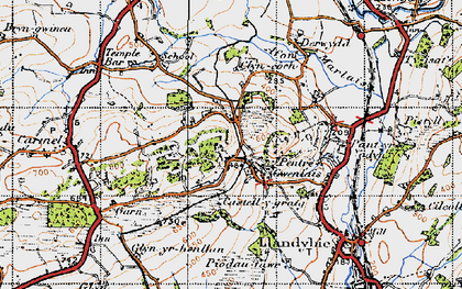 Old map of Afon Marlas in 1947