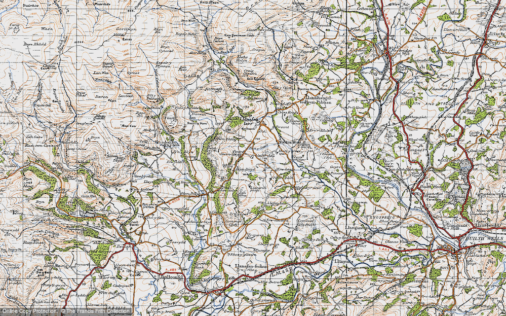 Old Map of Historic Map covering Afallenchwerw in 1947