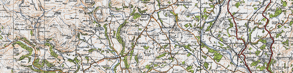Old map of Afallenchwerw in 1947