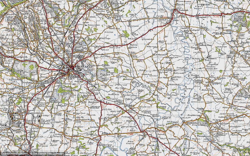 Old Map of Historic Map covering Wrexham Industrial Estate in 1947