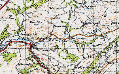 Old map of Afon Gwydderig in 1947