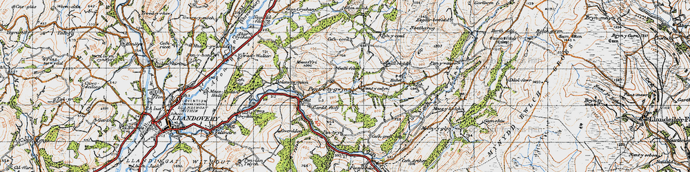 Old map of Abercrychan in 1947