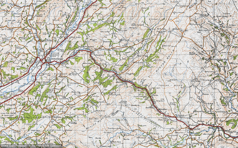 Old Map of Historic Map covering Allt y Ferdre in 1947