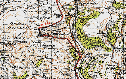 Old map of Pentredwr in 1947