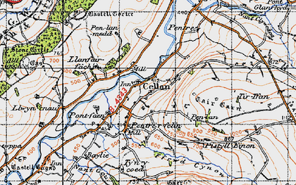 Old map of Pentrefelin in 1947