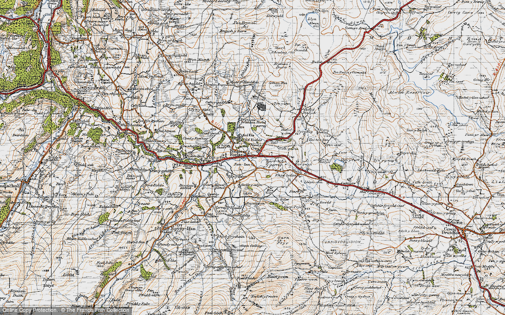 Old Map of Historic Map covering Afon Twllan in 1947