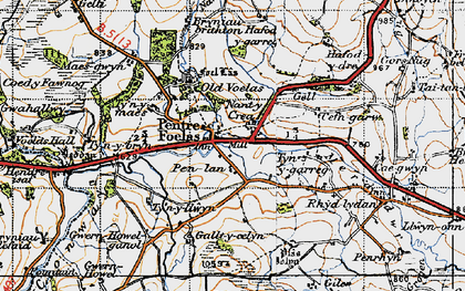 Old map of Afon Twllan in 1947