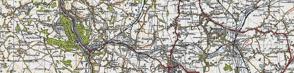 Old map of Pentrich in 1946