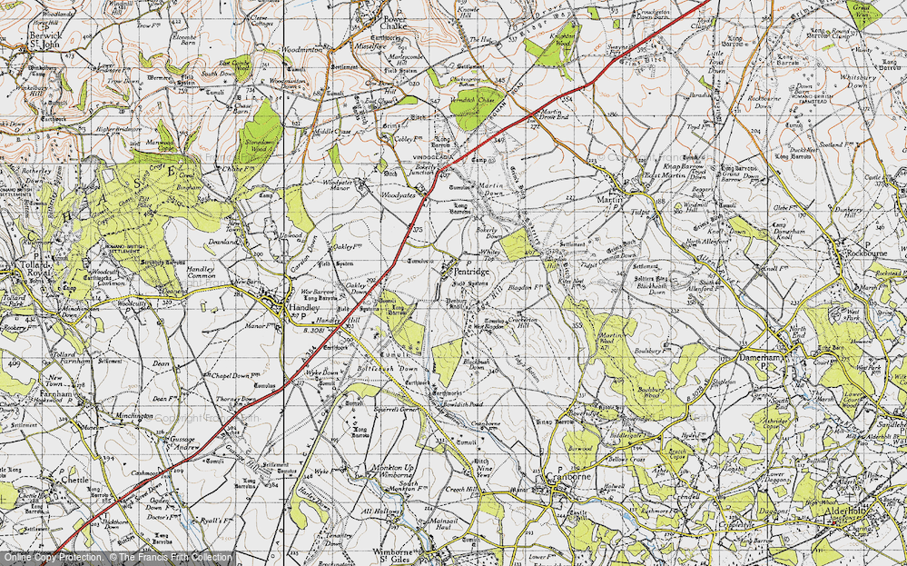 Old Map of Historic Map covering Ackling Dyke (Roman Road) in 1940