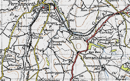 Old map of Penwartha Coombe in 1946