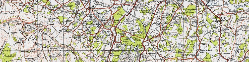 Old map of White Oak Ho in 1945