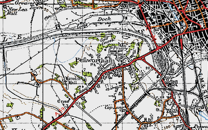 Old map of Penwortham in 1947