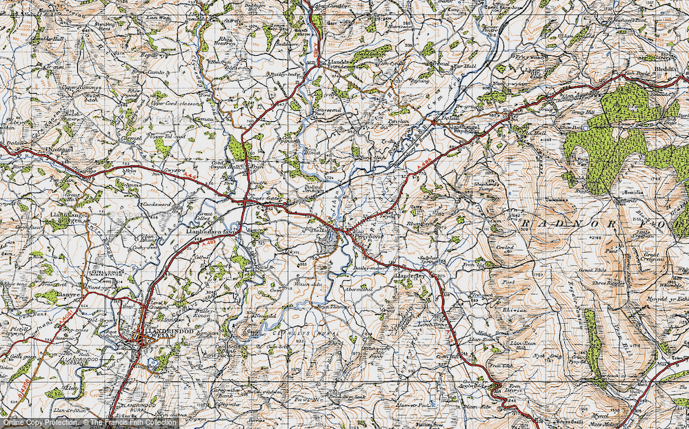 Old Map of Historic Map covering Abermithel in 1947