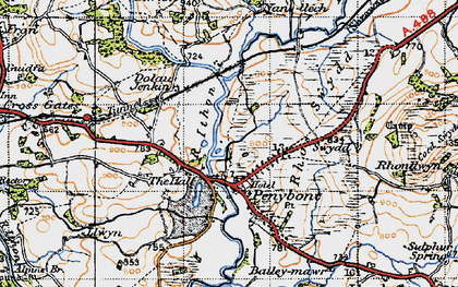 Old map of Abermithel in 1947