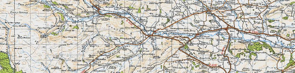 Old map of Penybontfawr in 1947