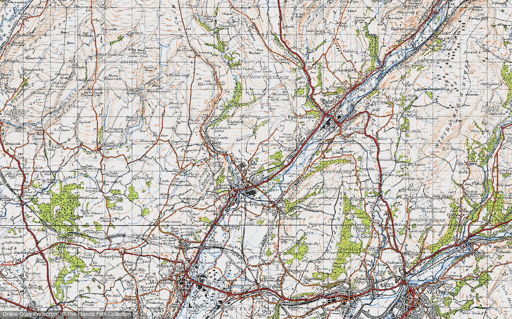 Old Map of Historic Map covering Allt-y-fanog in 1947