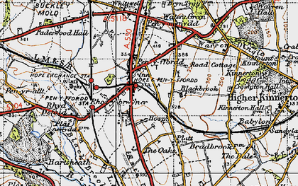 Old map of Penyffordd in 1947