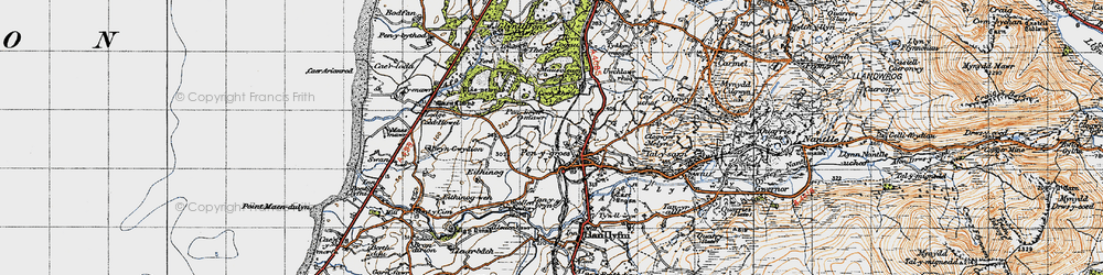 Old map of Penygroes in 1947