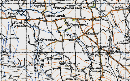 Old map of Afon Bannon in 1947