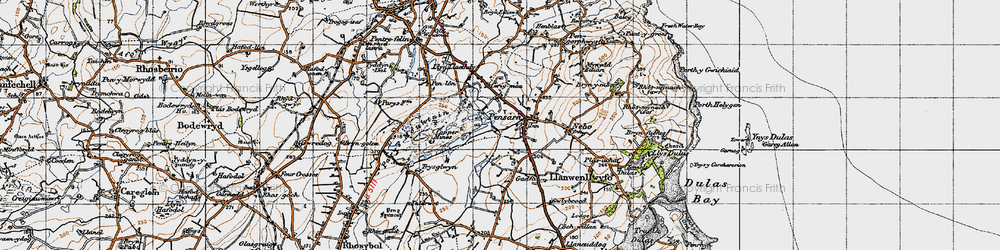 Old map of Penysarn in 1947