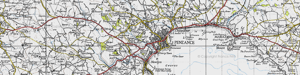 Old map of Penzance in 1946